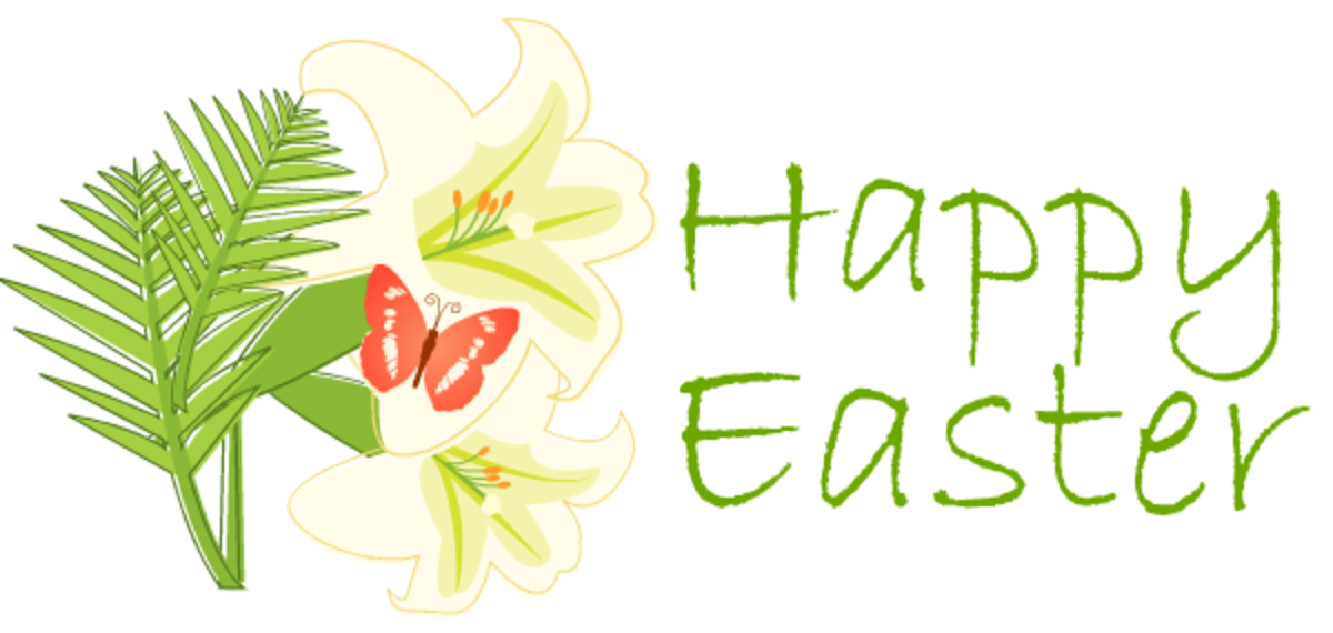 Easter lilies and butterfly greeting -- pink clip art