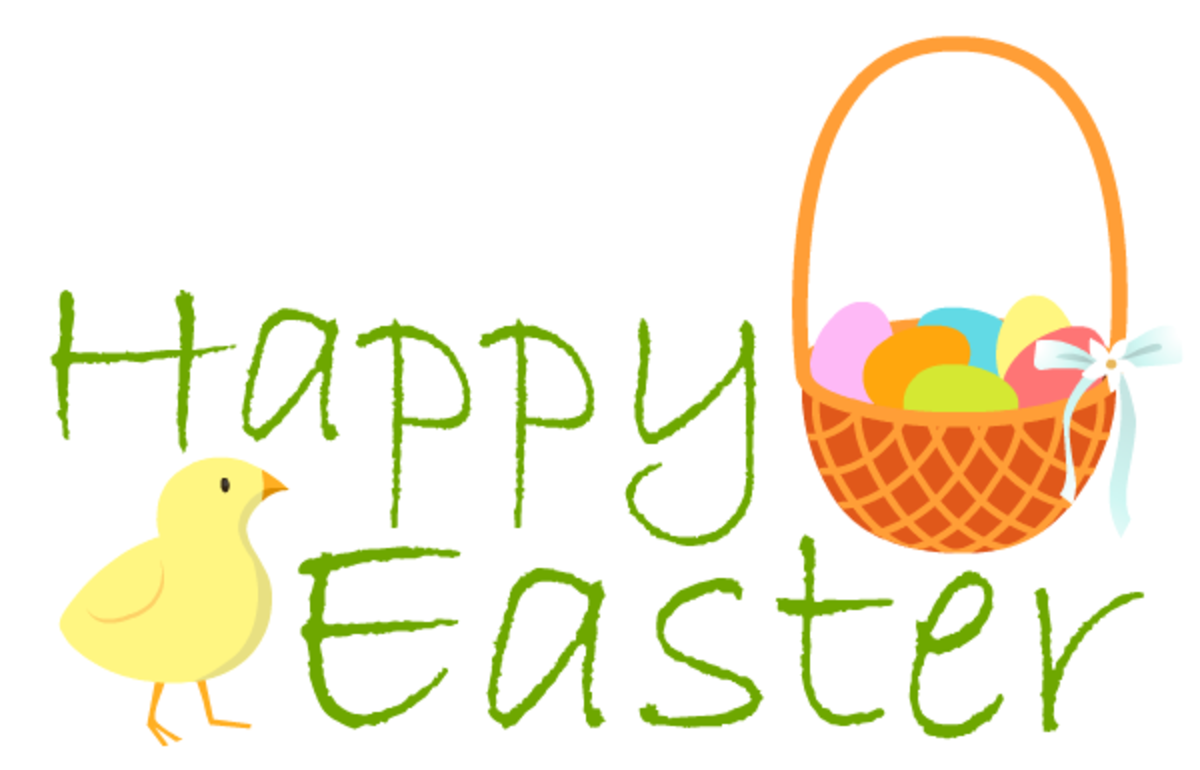 Easter basket and baby chick greeting clip art