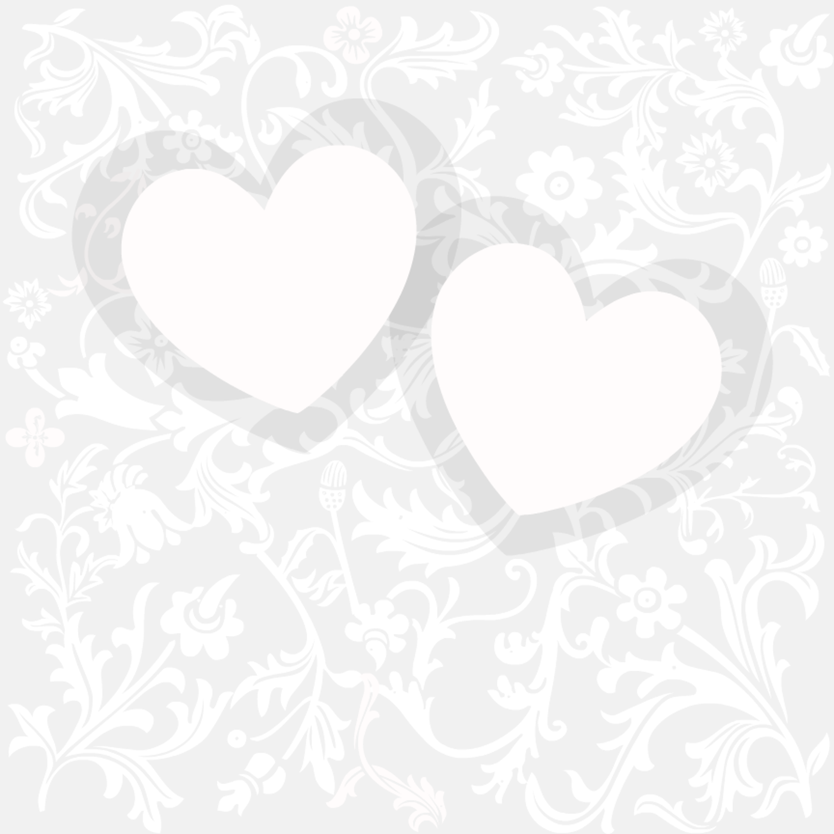Classic silver floral wedding scrapbook paper with dual overlapping hearts