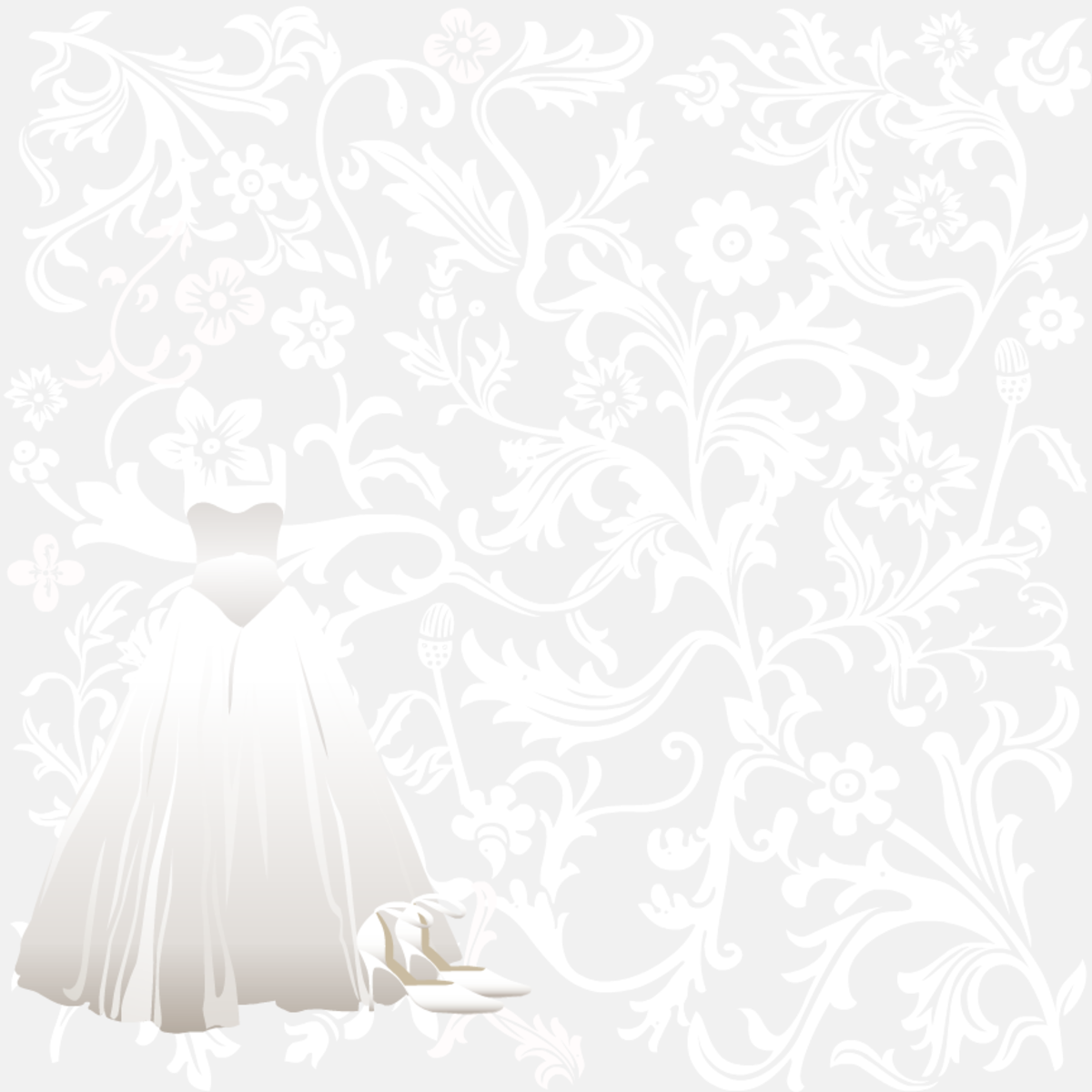 Classic silver floral wedding scrapbook paper with wedding gown and high-heeled shoes