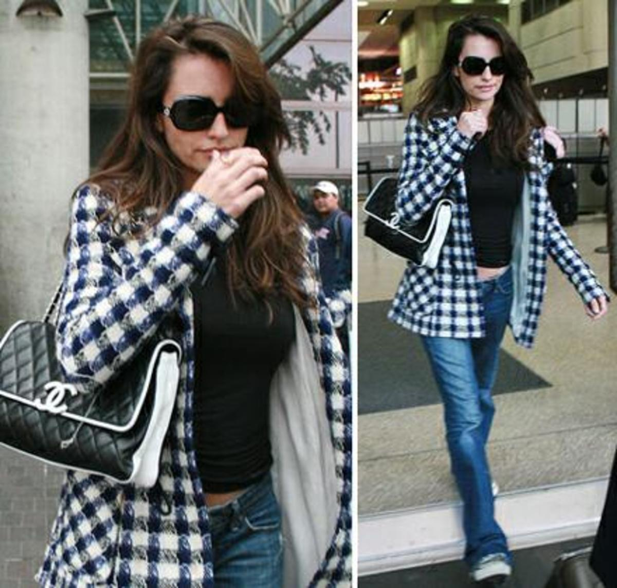 Penelope Cruz arriving at LAX airport carrying a Chanel flap bag