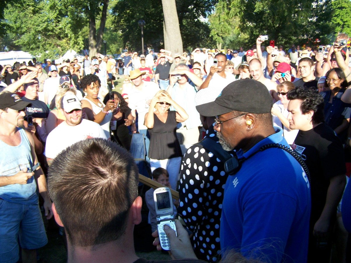 Buddy Guy in his trademark polka dot garb walking through the crowd at Ribfest in Indy