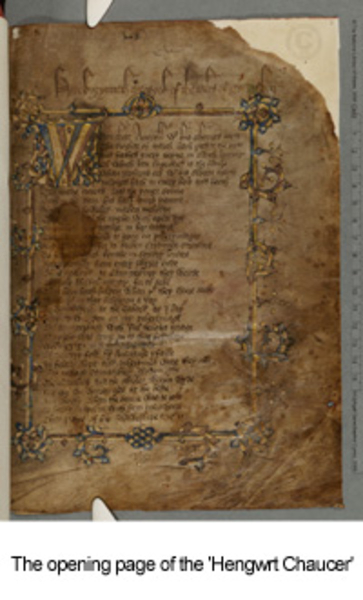 The first page of the 'Hengwrt Chaucer', a 14th century copy of the Canterbury Tales, now held in the National Library of Wales.