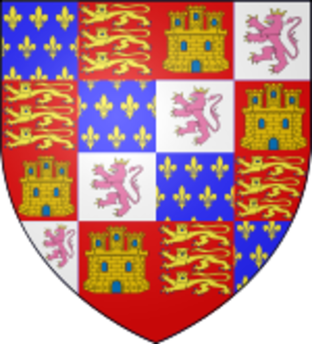 John of Gaunt's coat of arms, after he married Constance of Castile. In it, he asserts his rights to Castile and Leon.