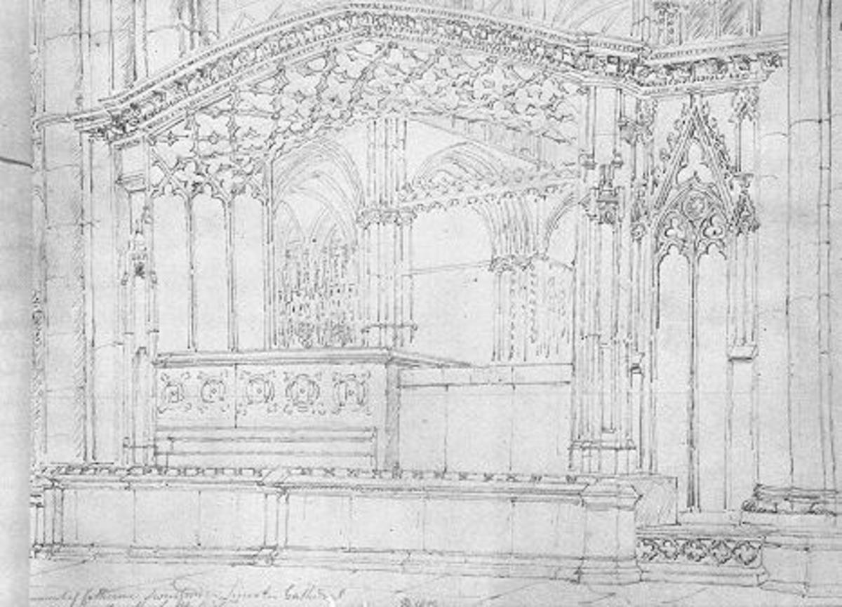 This sketch shows the chantry built around Katherine's tomb. A drawing by John Buckley, dated 1809.