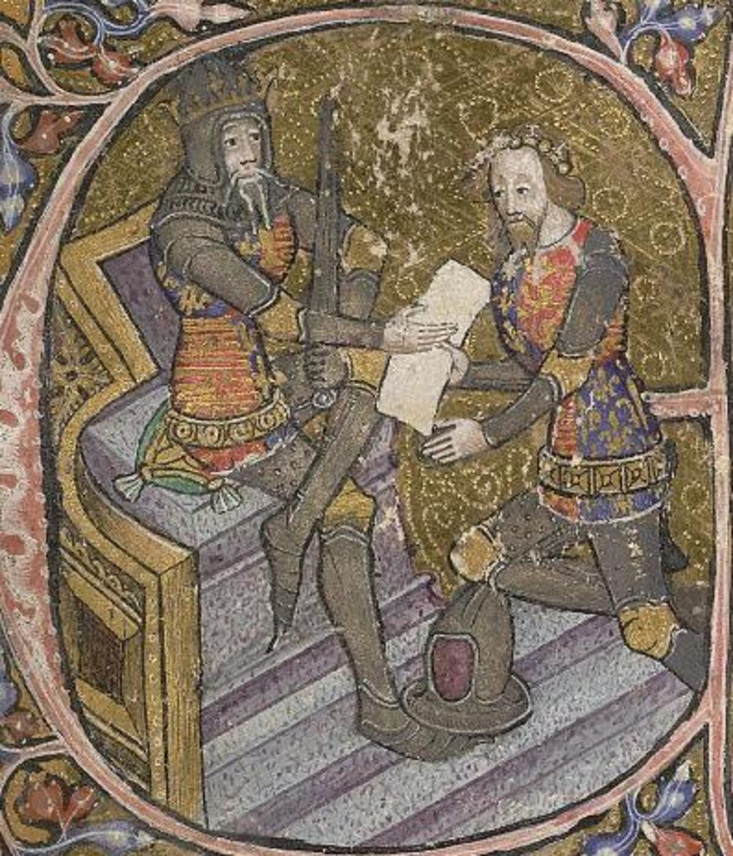A 14th century illustration showing Edward the Black Prince kneeling in front of his father, Edward III.