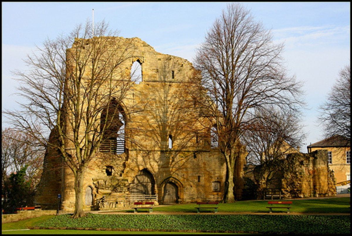 Knaresborough Castle is in Yorkshire. It belonged to John of Gaunt, and is still part of the Duchy of Lancaster today. The King's Hall, shown in this photograph, was built during the 14th century, possibly by John. Copyright Tasa_M.