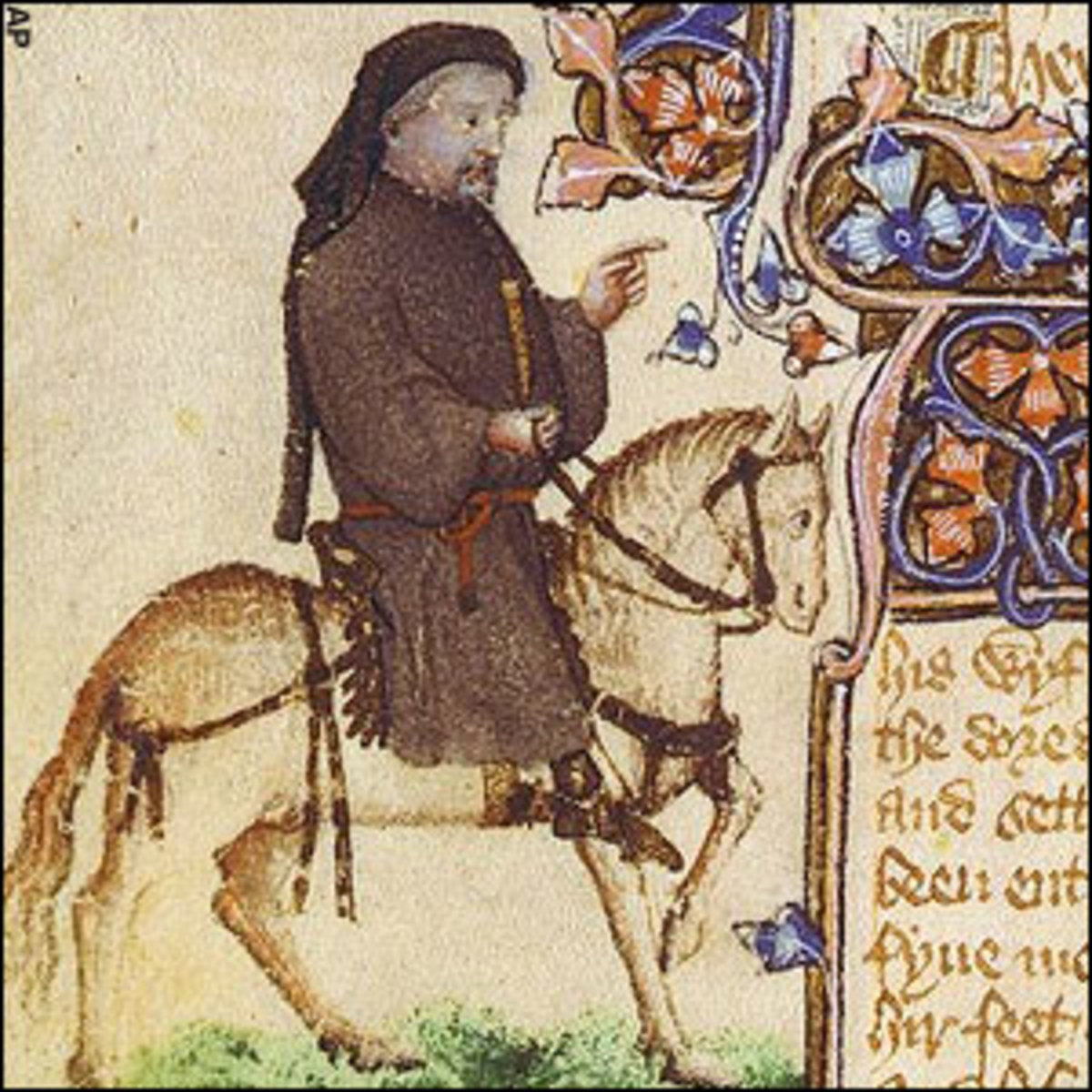 Geoffrey Chaucer, pictured as a pilgrim, from a contemporary illustration.
