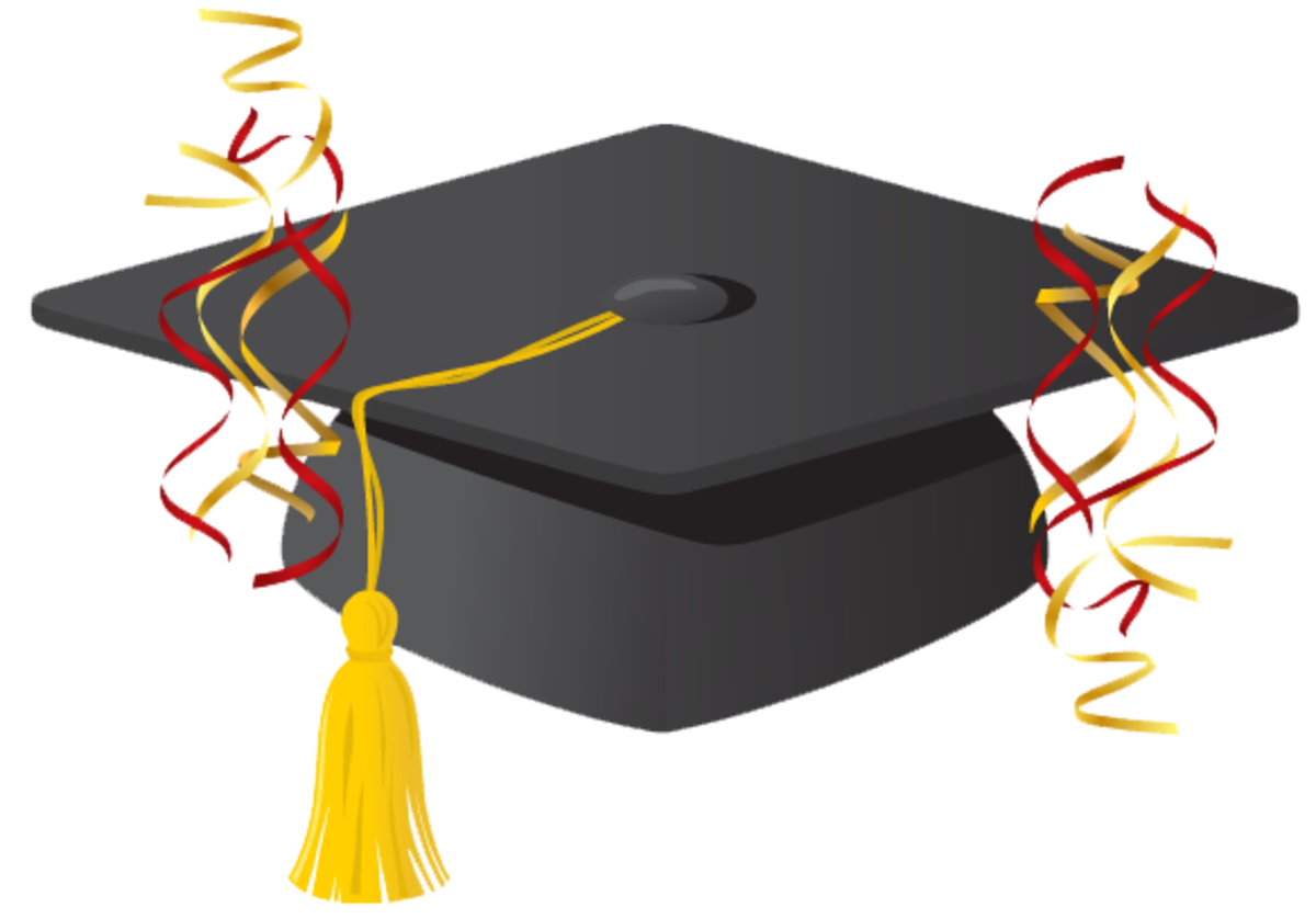 free graduation scrapbook embellishment: mortarboard or graduation cap with red and yellow streamers