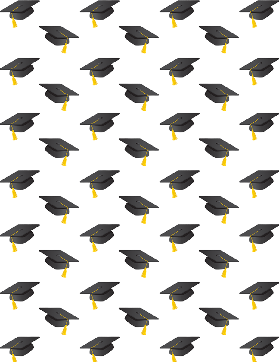 free graduation scrapbooking paper with mortarboards