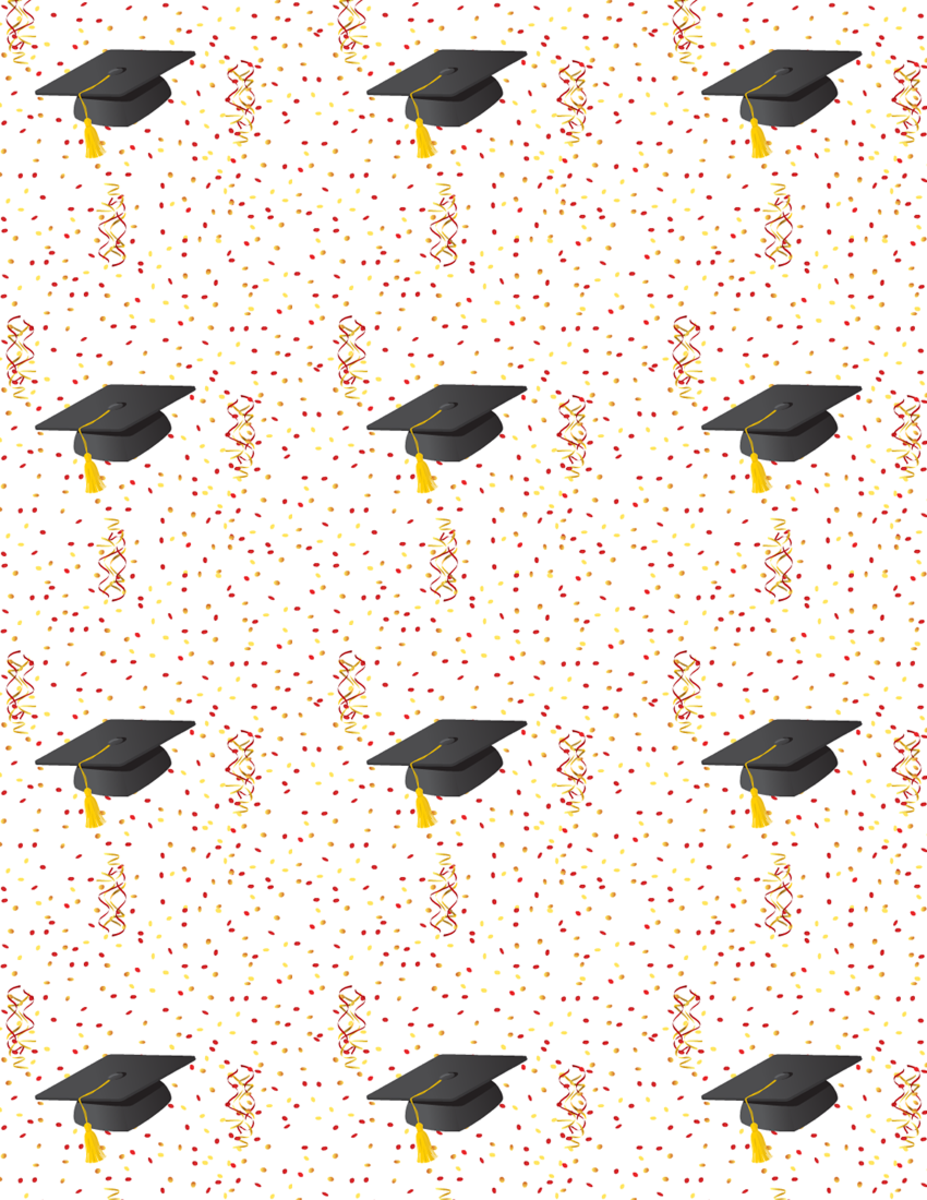 free graduation scrapbook paper with mortarboards, confetti and streamers