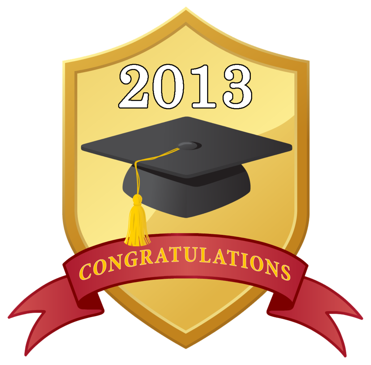 graduation scrapbook embellishment: 2013 shield with graduation hat