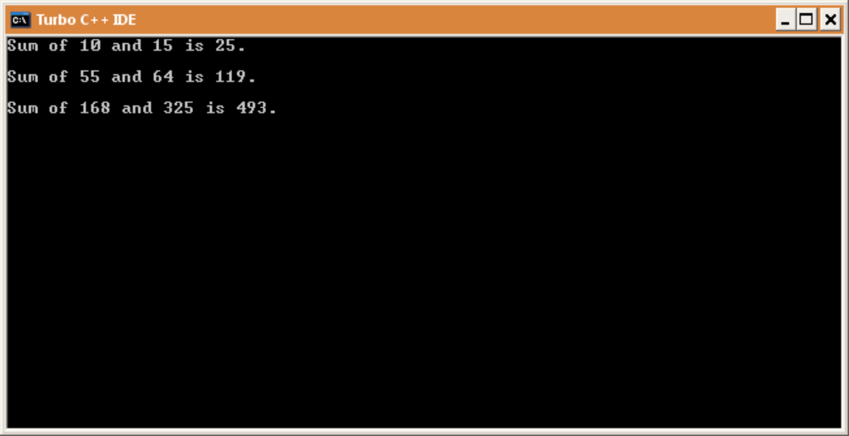 Output of above program.