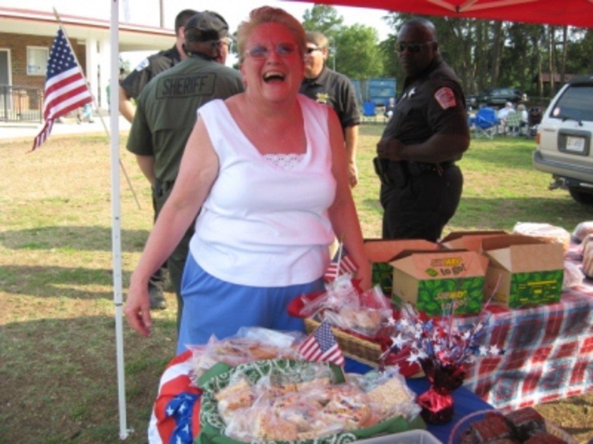 Wanda does a super job of organizing the Bake Sale at Freedom Fest and the Cake Walks!