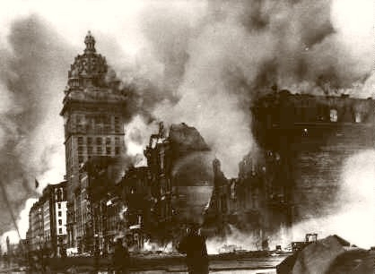 The Great Fires of the 1906 San Francisco earthquake. Destroy blocks of the city.