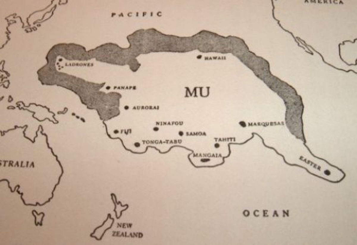 Colonel James Churchward's Map of Mu showing how close it would have been to America