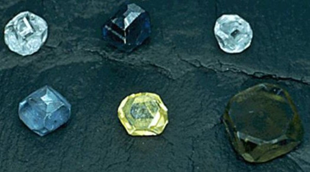 Different colored synthetic diamonds