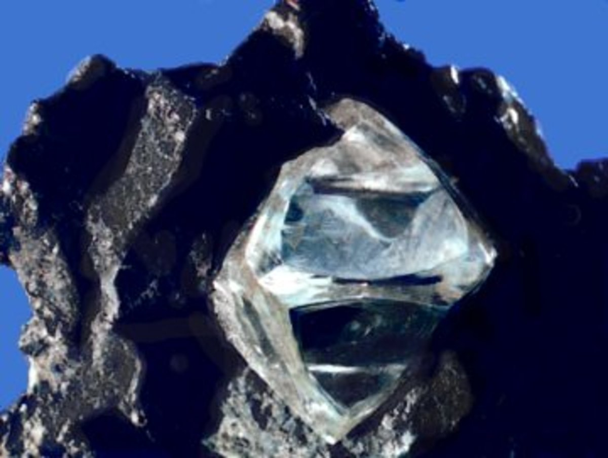 A rough diamond as might be found in nature