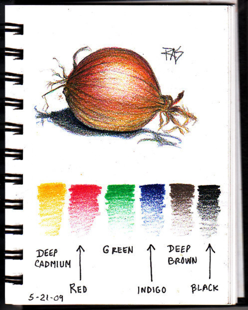 Onion Page in my ProArt wirebound sketchbook with color samples of all six Coloursoft colors used. Robert A. Sloan, May 21, 2009