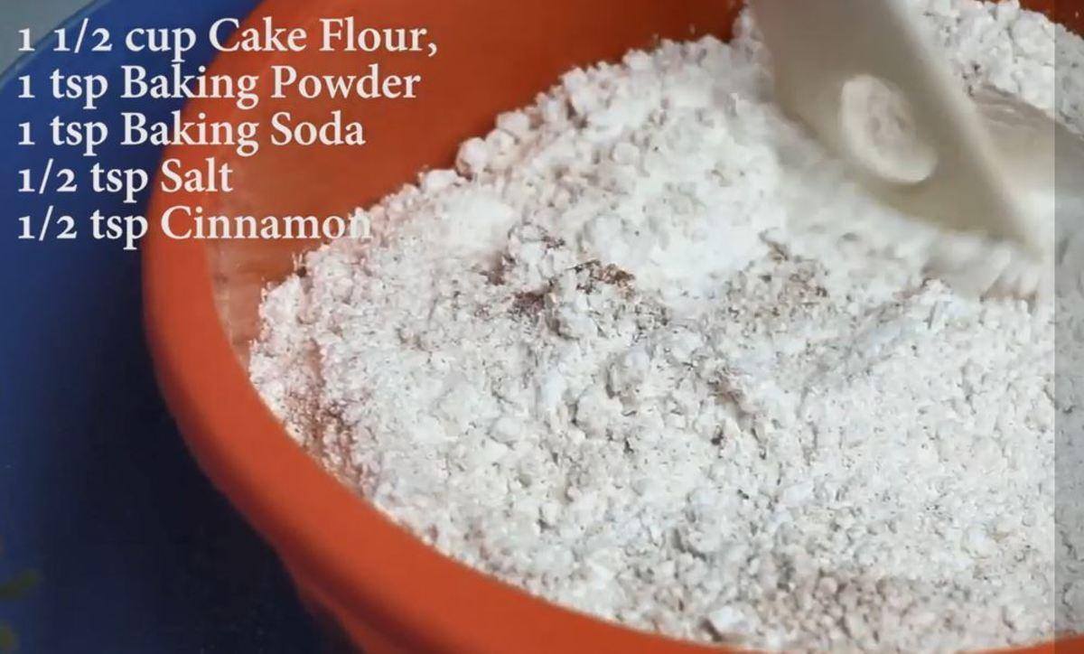 Sift the Flour, Baking Powder, Baking Soda, Salt, Cinnamon together.