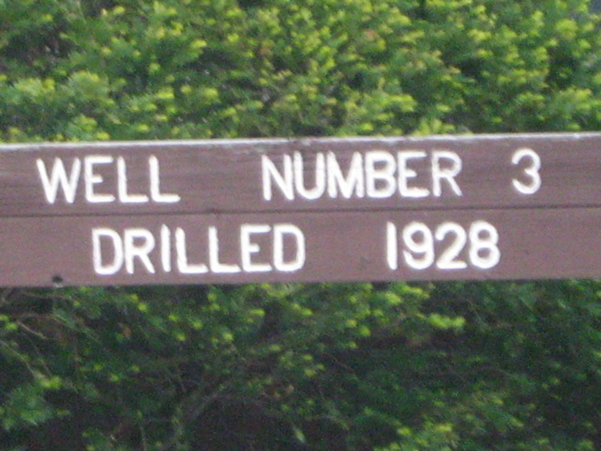 Signage to a historic well site along the train tracks near Downtown Hinsdale