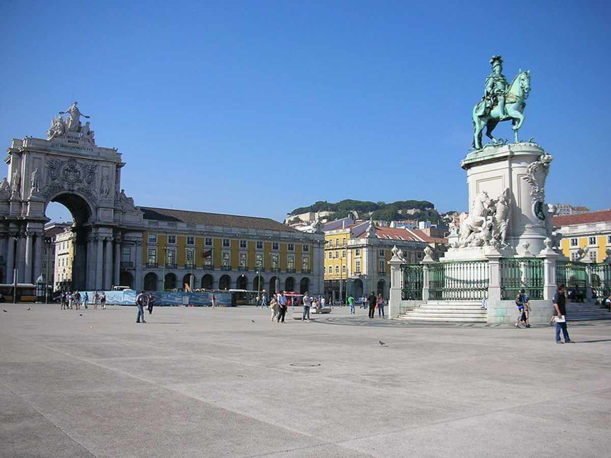 Commercial Square - downtown Lisbon - with the statue of King Joseph I, proudly erected in the centre, after the 1755 earthquake.