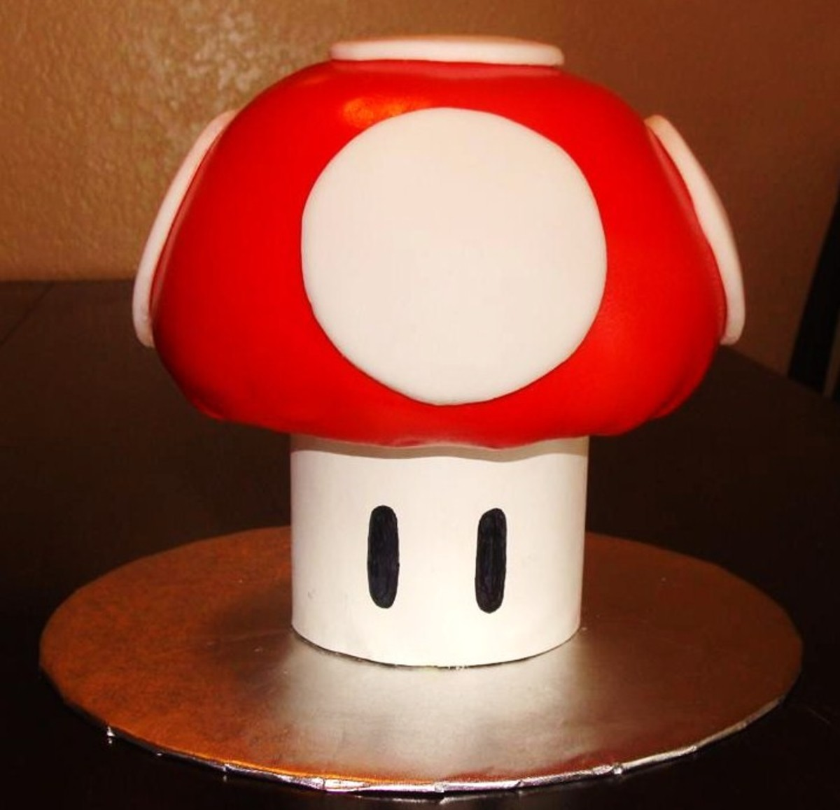 This Super Mario Mushroom Cake was baked using a Pampered Chef Batter Bowl.