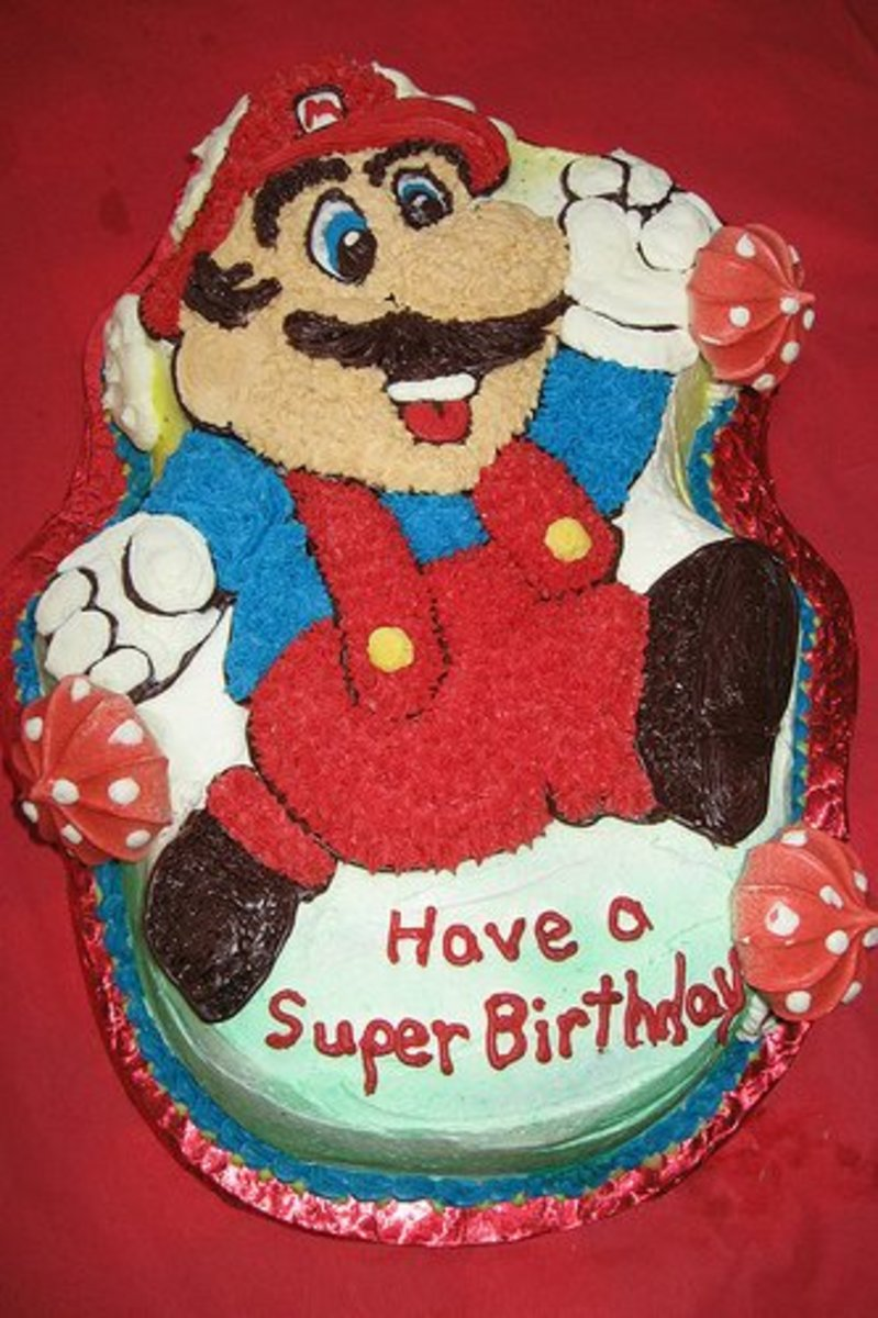 Super Mario Birthday Cake using a Specialty Cake Pan