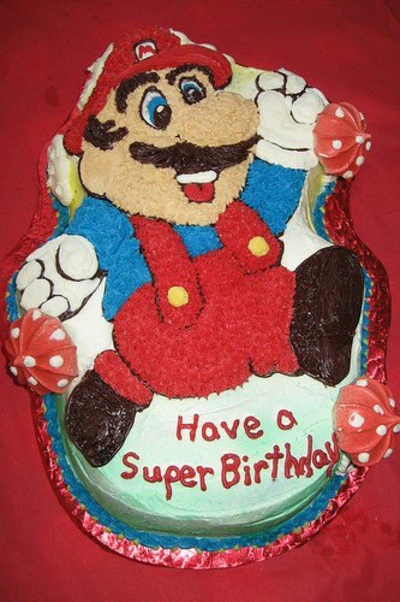 Super Mario birthday cake using the specialty cake pan.