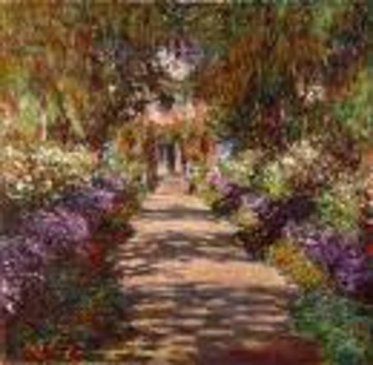 A winding lane flanked by rows of flowers