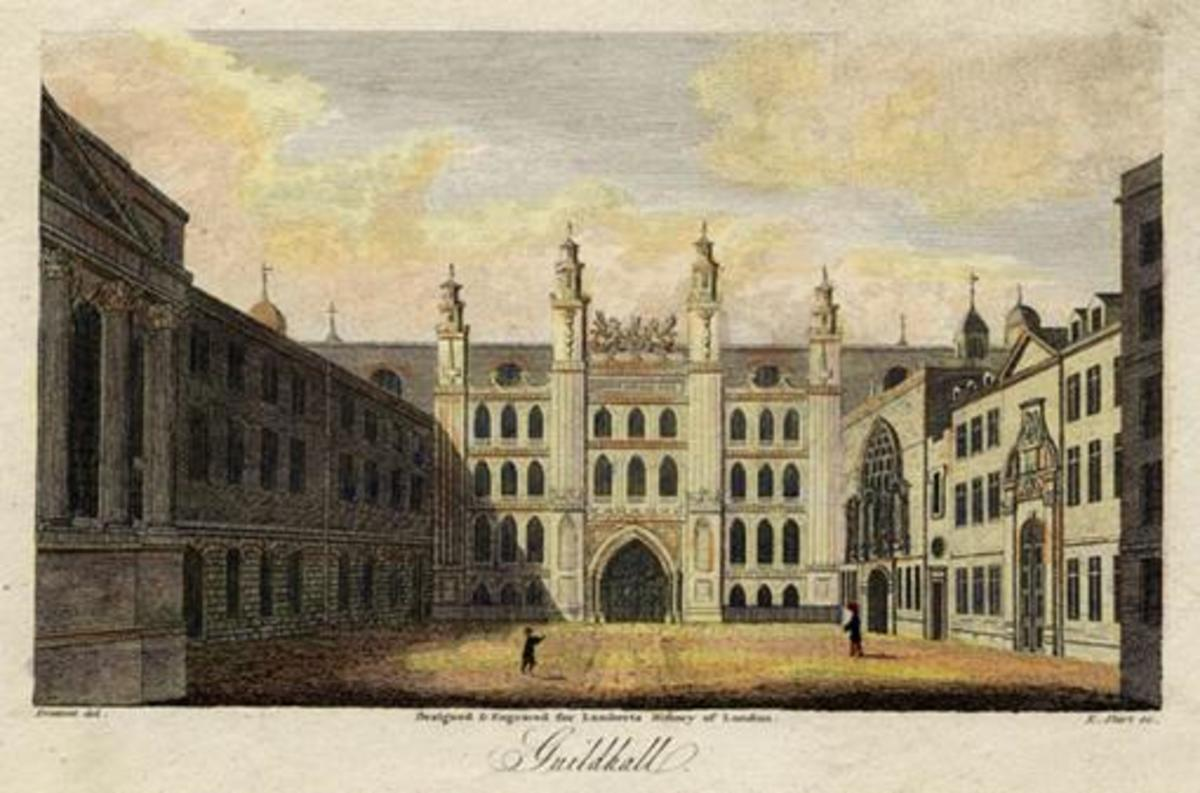 Guildhall engraved by E.Shirt after a painting by Prattent c 1805