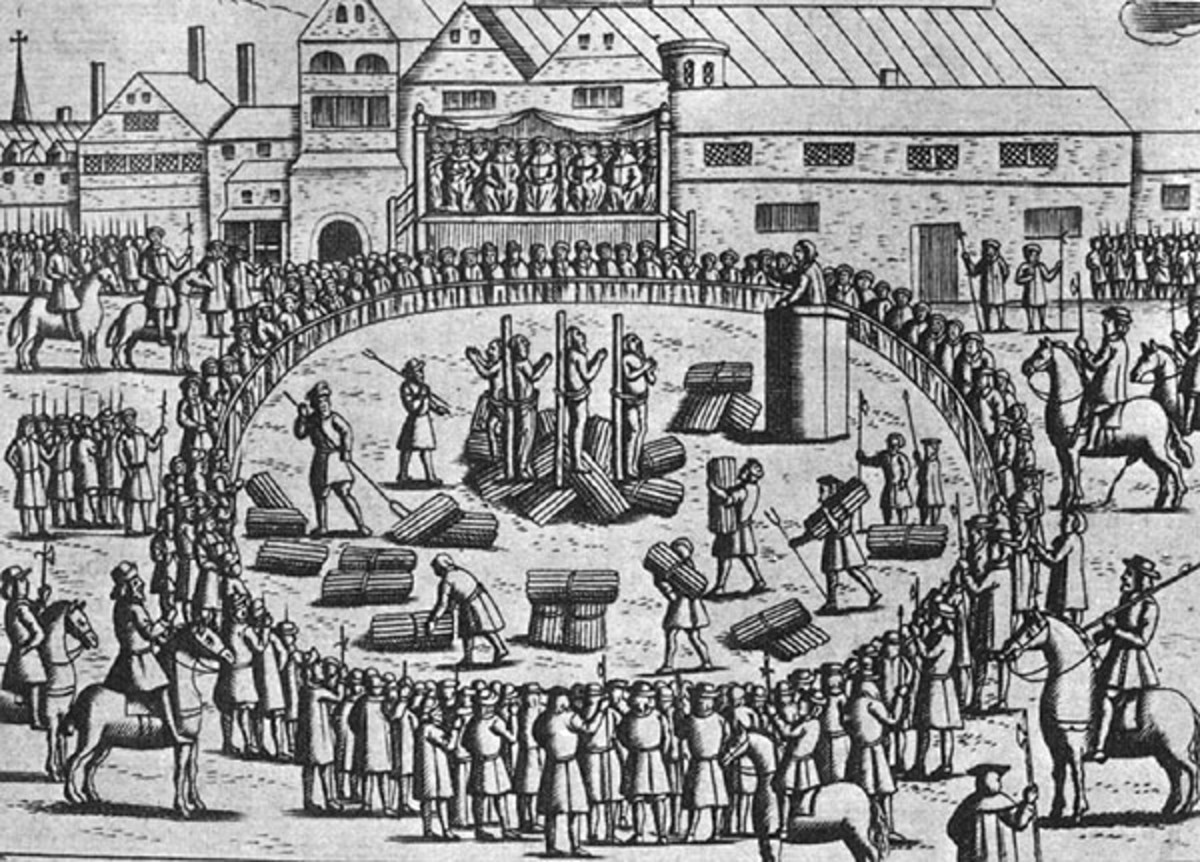 Anne Askew being burnt at the stake