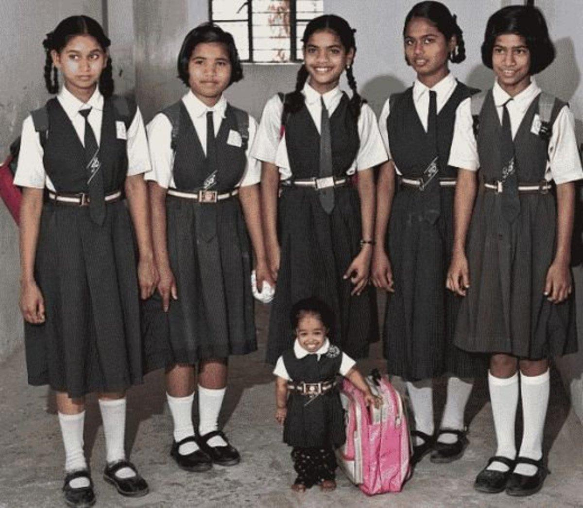 Jyoti's schoolfriends tower over her but never look down in her