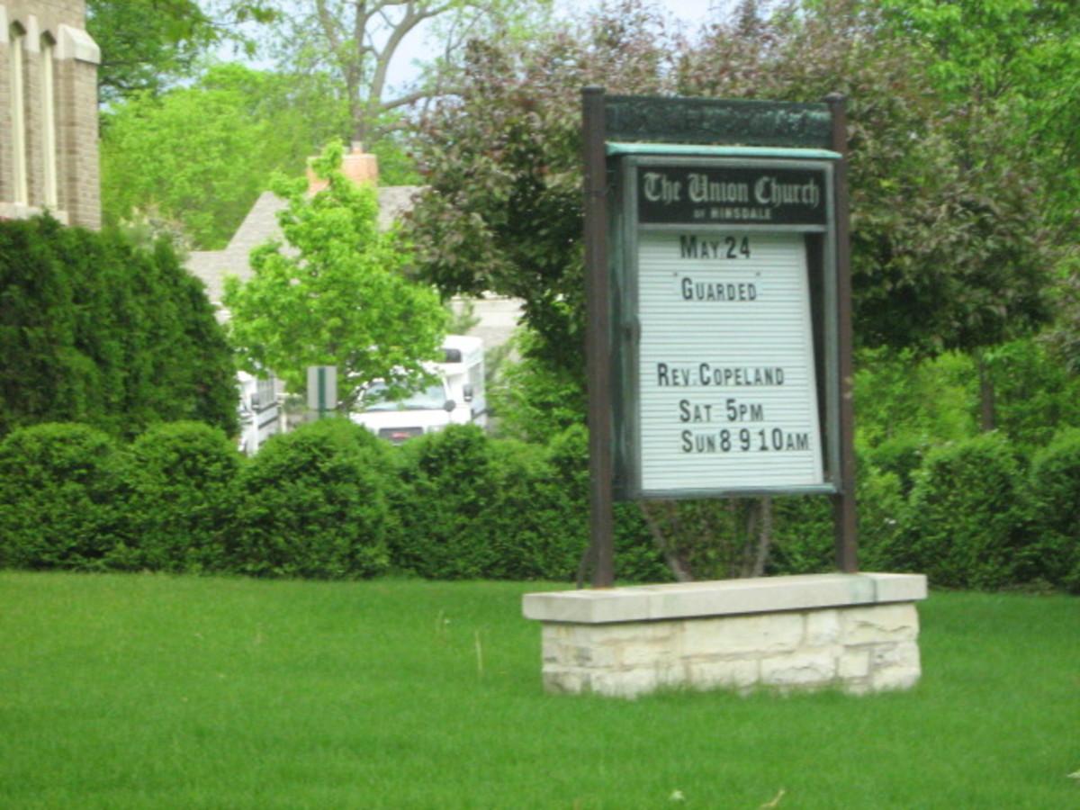 Union Church corner signage near Historic Downtown Hinsdale