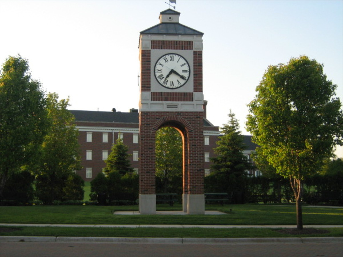A clock tower in an office park near Ogden Avenue on the north end of Hinsdale