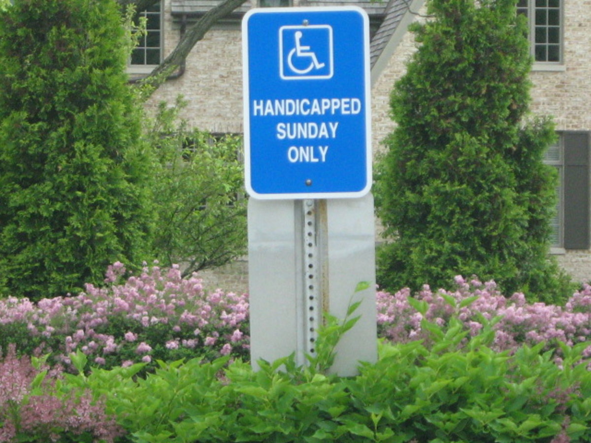 "Hinsdale Church's ""Handicapped  Sunday Only"" sign"