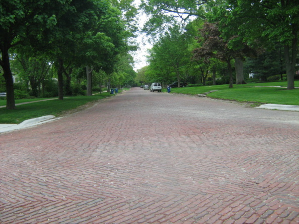 There are a couple of 'red brick' residential streets in Hinsdale, keeping its historic factor alive