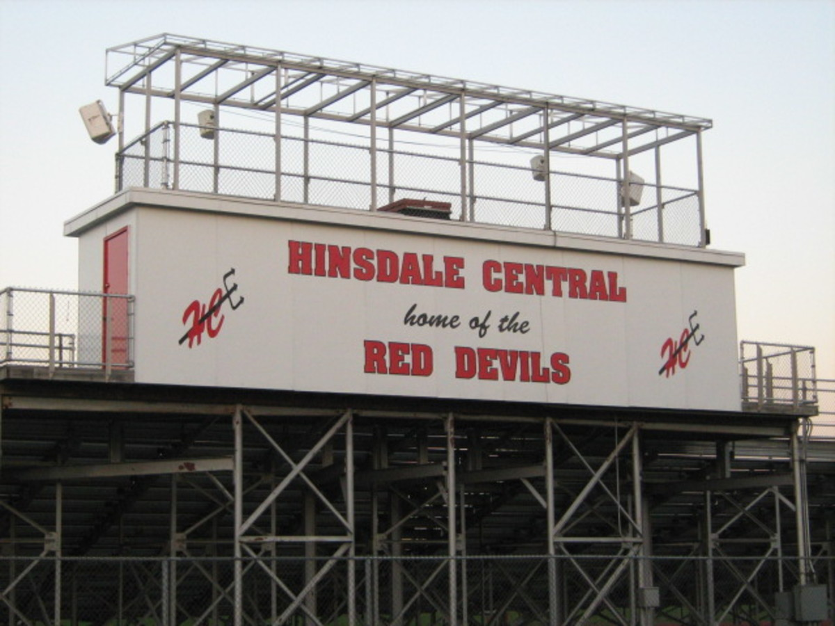 School and sports are big in Hinsdale - signage at the Hinsdale Central High School's athletic field