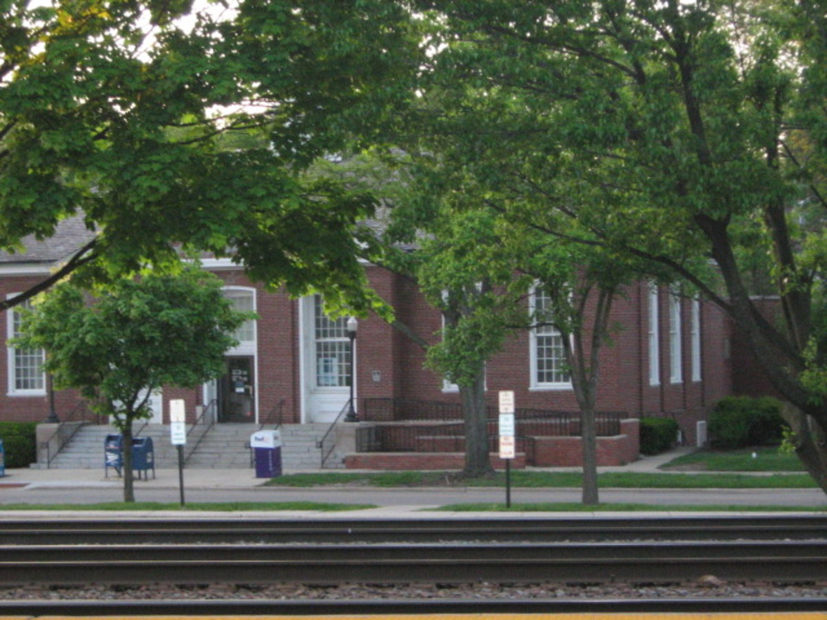 A view of the U.S. Post Office in Hinsdale from across the tracks on the south