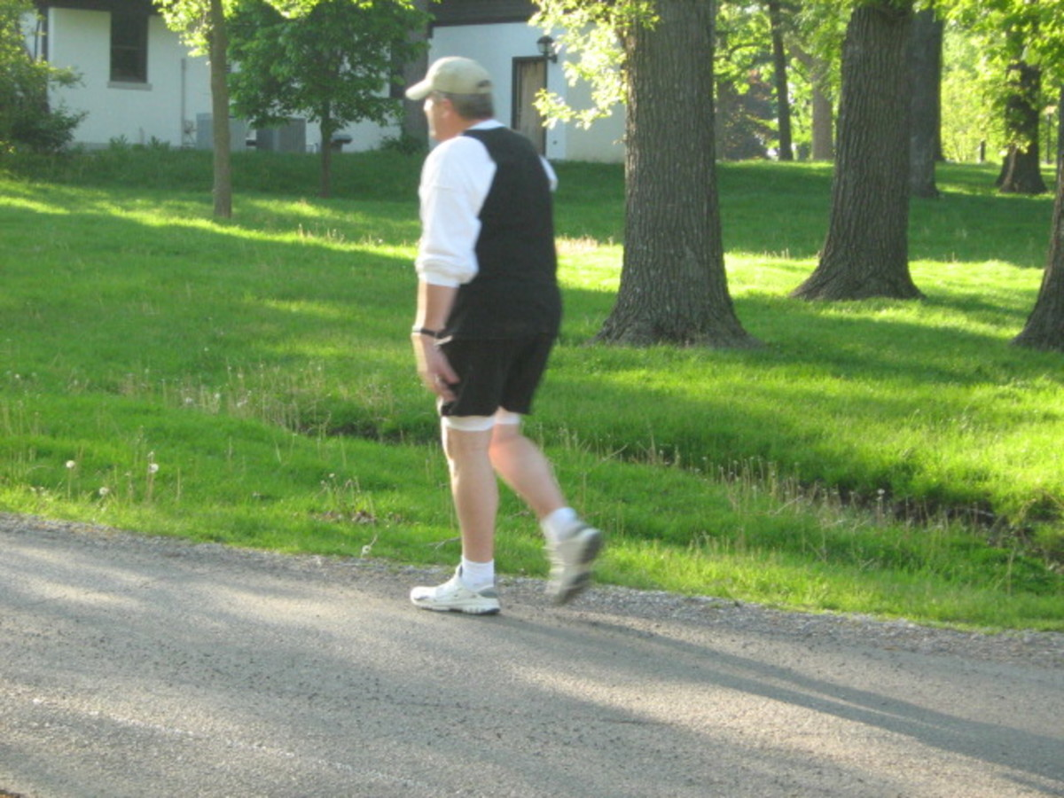 One of many walkers at the Katherine Legge Memorial Park