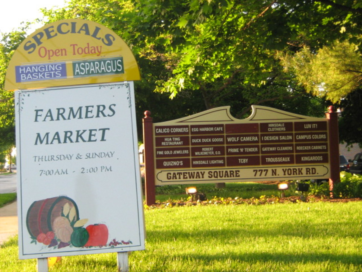 Farmer's Market takes place at this strip mall on the northern end of Hinsdale