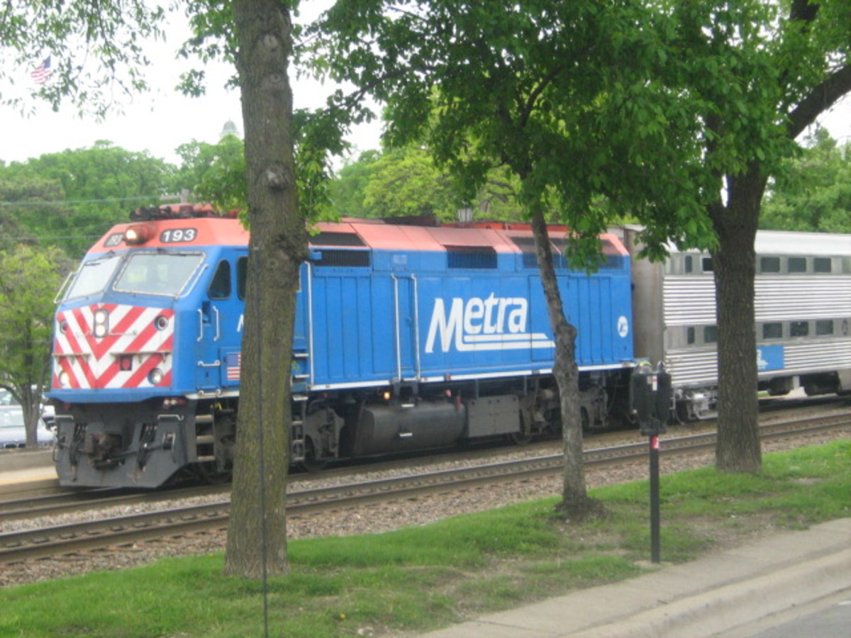 The Metra train passes through the center of town - travels east/west from Chicago all the way out to Aurora which is about 50 miles west of Chicago