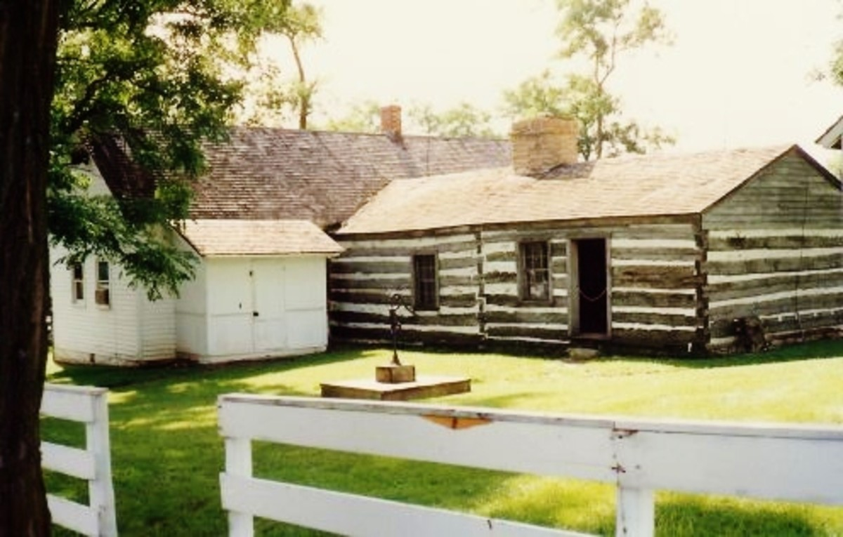 The log cabin part of the house is where Jesse James was born in Kearney, Missouri.