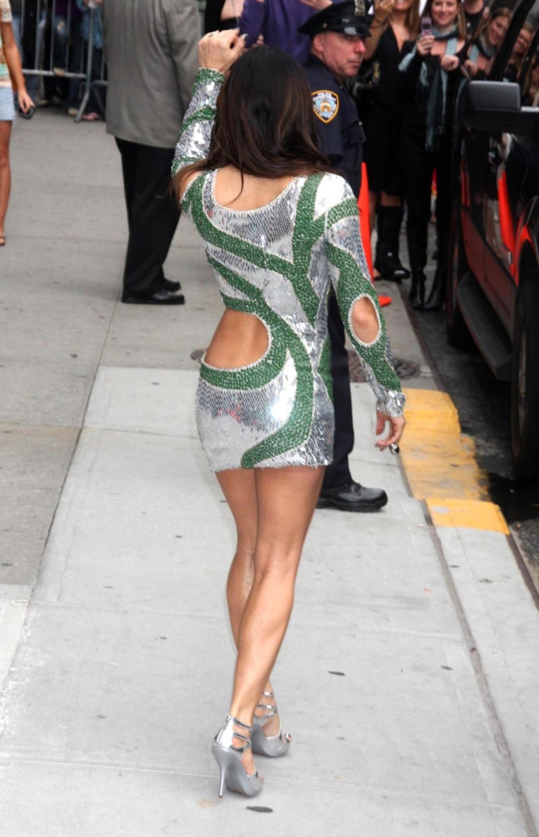 Fergie in a skin tight and revealing, short dress and high heels appearing at the Late Show