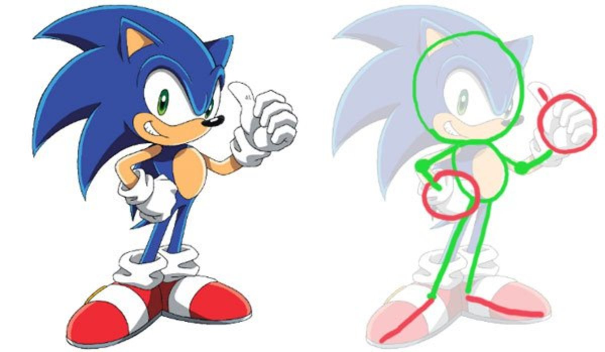 How To Draw Sonic The Hedgehog A Smashing Tutorial Hubpages