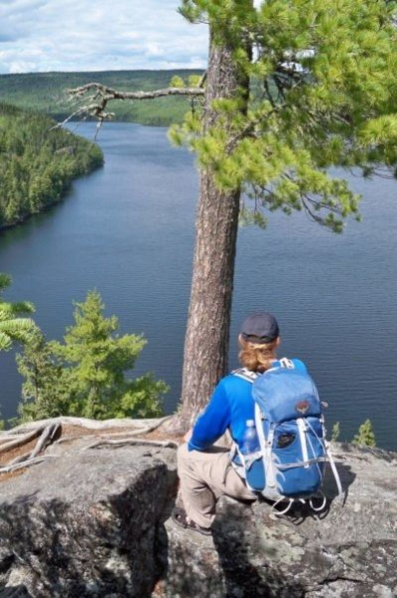An overlook above Rose Lake. We stopped here before hiking down to the waterfall at Stairway Portage.
