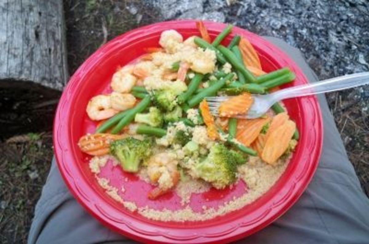 Shrimp and veggies over cous cous--bon appetit!