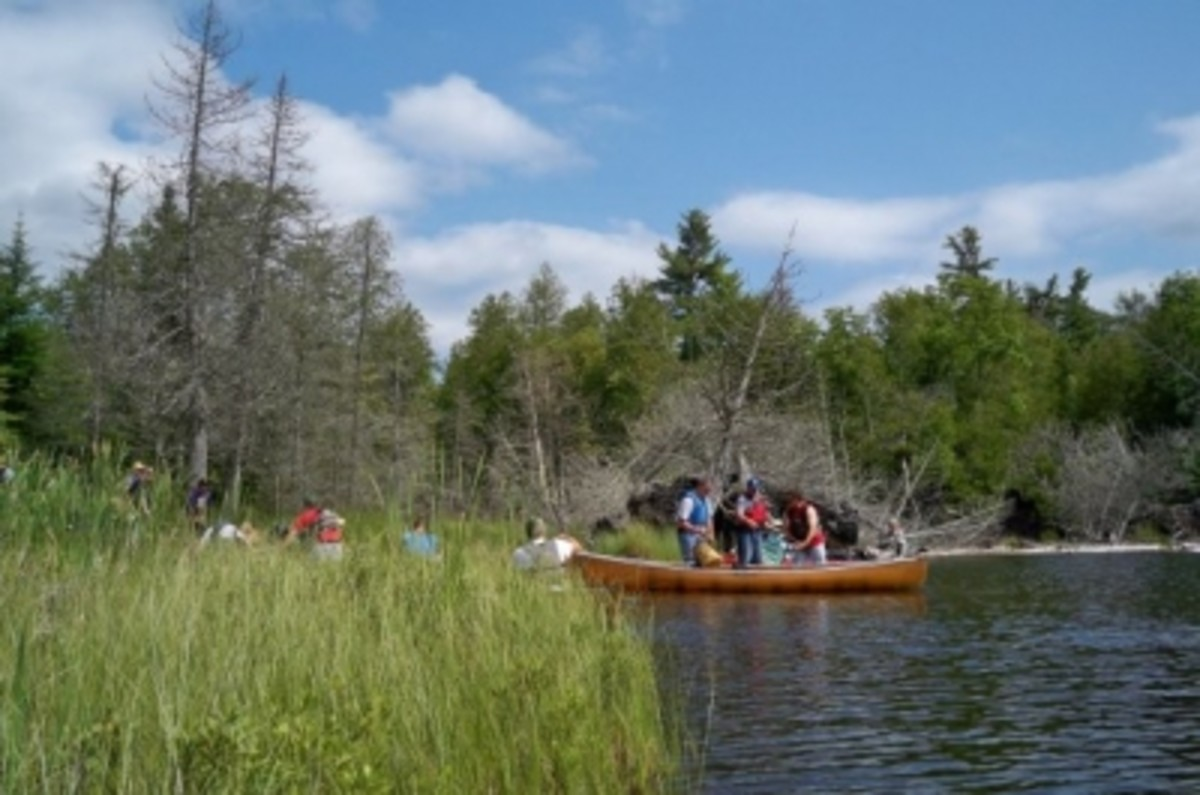 A bit of a bottleneck at a portage. This doesn't happen often and sometimes never on the more remote lakes.