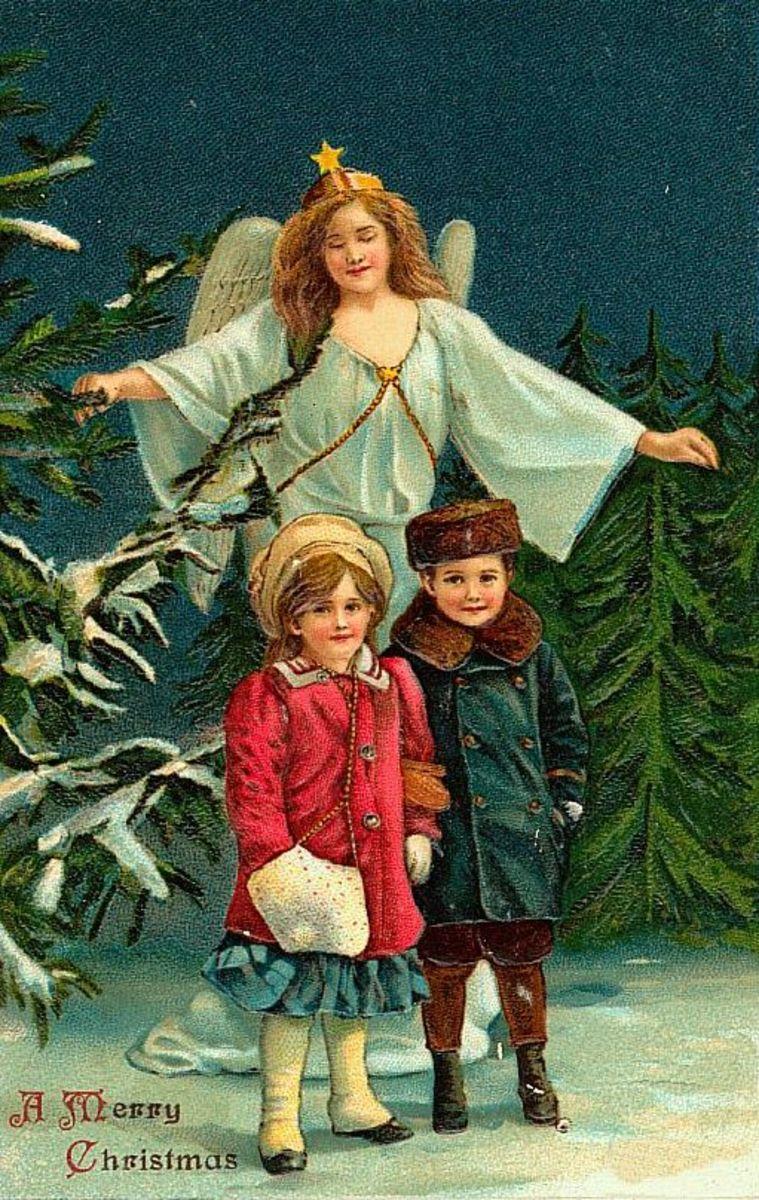 Angel do vintage com duas crianças pequenas