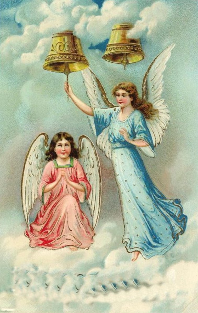 Two vintage angels with two gold bells in clouds